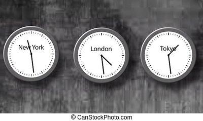 dials., trois, york, nouveau, animation, tokyo., montre, londres