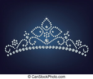 diamant, abbildung, tiara, -, vektor