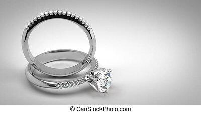 diamant, anneaux, solitaire, mariage
