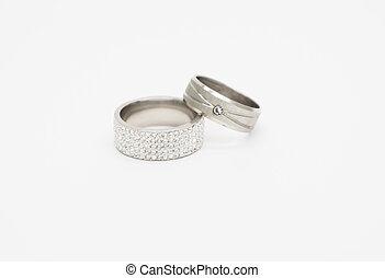 diamant, anställning ringer, två, födelse, barn, bröllop, eller