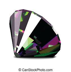 diamant, arrière-plan., clair, vecteur, blanc, brillant