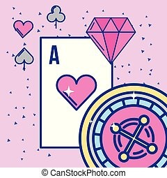 diamant, as, roulette, image, casino, conception, jeux & paris, carte