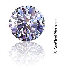 diamant, auf, glänzend, weißer hintergrund