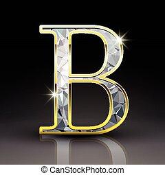 diamant, b, 3d, lettre, magnifique