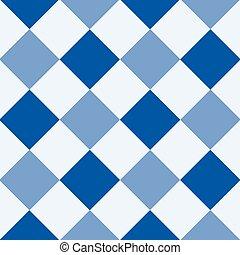 diamant bleu, échiquier, sérénité, fond, marine, blanc