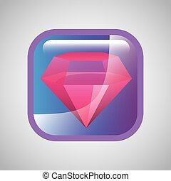 diamant, carrée, icône
