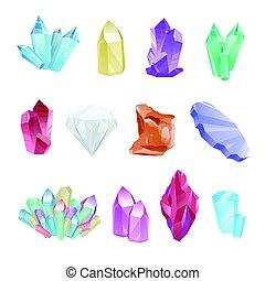 diamant, coloré, ensemble, cristaux, minéraux, gemmes