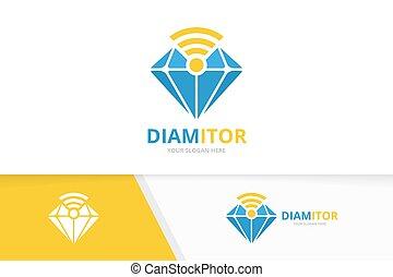 diamant, combination., signaal, wifi, logotype, template., symbool, vector, ontwerp, logo, radio, icon., uniek, of, edelsteen, juwelen