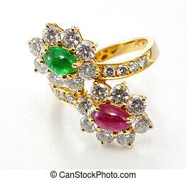 diamant, doré, arrière-plan., gemme, anneau, blanc