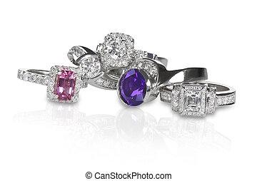 diamant, engagment, anneaux, groupe, mariage, pile