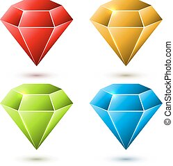 diamant, ensemble, couleur, isolé, arrière-plan., vecteur, blanc