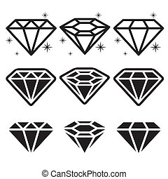 diamant, ensemble, icônes
