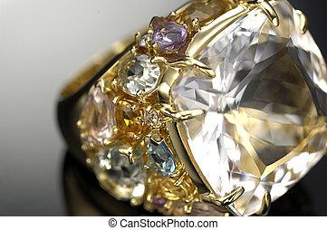 diamant, fokus, ring, differential