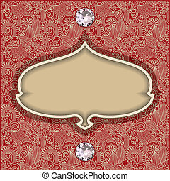 diamant, fond, vendange, bijou, gabarit, floral