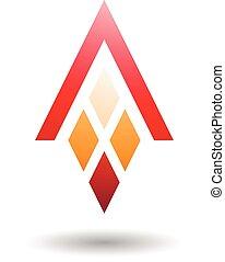 diamant, formé, résumé, lettre, rectangles, symbole