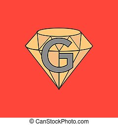 diamant, g, firma, abbildung, vektor, brief, logo