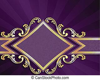 diamant, gevormd, paarse , &, goud, spandoek