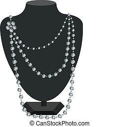 diamant, halssnoer, paspop