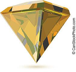 diamant, het glanzen, Vrijstaand, transparant, witte