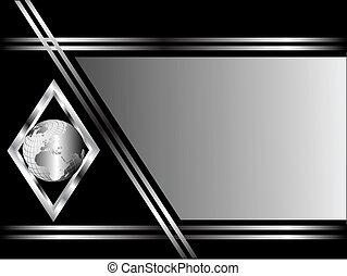 diamant, hintergrund, geschaeftswelt, erdball, silber, schwarz, schablone, oder, karte