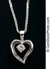 diamant, hjärta, halsband