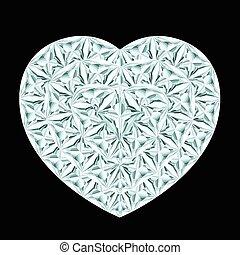 diamant, hjärta, på, svart fond