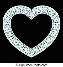 diamant, hjärta, ram, på, svart fond