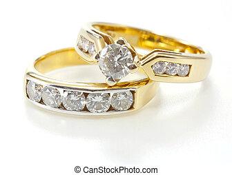 diamant, isolé, styles, deux, doré, arrière-plan., anneau, blanc