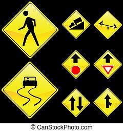 diamant, jaune, forme, ensemble, huit, 4, signes, route