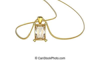 diamant, ketting, goud, Vrijstaand, illustratie, gele, halssnoer,  3D