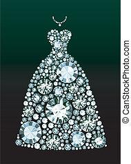diamant, klänning, bröllop