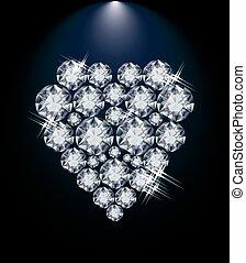 diamant, liefde, dag, hart, valentines