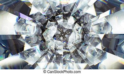diamant, loop., macro, seamless, étincelant, tourner, kaléidoscope