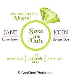 diamant, mariage, -, vecteur, invitation, date, anneau,...