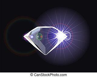 diamant, met, licht, reflectie