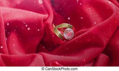 diamant, neiger, satin, sur, anneau