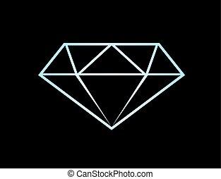 diamant, noir, illustration