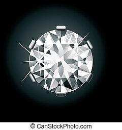 diamant, noir, rond