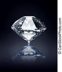 diamant, på, skum fond