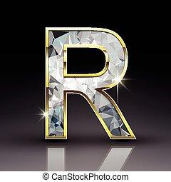 diamant, r, brillant, lettre, 3d