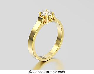 diamant, reflexion, gold, verlobung , gelber , abbildung, ...