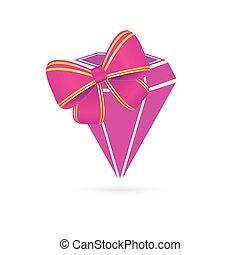diamant, rosa, vektor, mit, schleife
