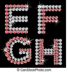 diamant, sätta, letters., vektor, (2), alfabetisk