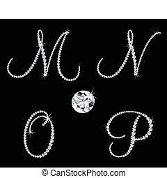 diamant, sätta, letters., vektor, 4, alfabetisk, behagfull