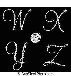 diamant, sätta, letters., vektor, 7, alfabetisk, behagfull