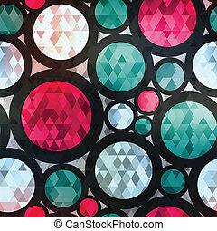 diamant, seamless, textuur, effect, retro, cirkel