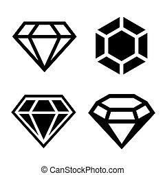 diamant, set, iconen