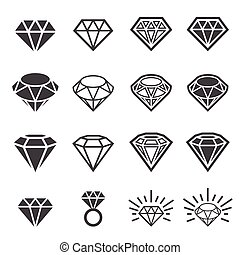 diamant, set, pictogram
