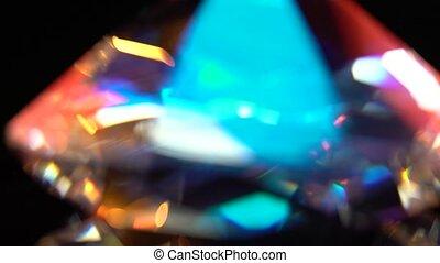 diamant, shimmering, highlights., veelkleurig, het spinnen, zwarte achtergrond, beste; geachte