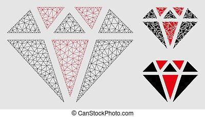 diamant, triangle, armature fil, maille, vecteur, modèle, mosaïque, icône